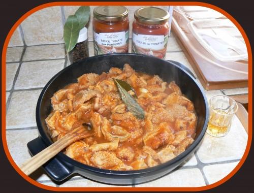 Tripes sauce tomates, coulis de tomates, sauce tomates aux poivrons